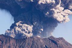 Kagoshima City Japans Mt Sakurajima erupting The volcano is located only 4 ki Kagoshima, Kyushu, Planner Template, Mount Everest, Anime, Royalty Free Stock Photos, Clouds, Japan, Mountains