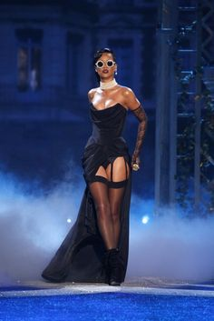 Rihanna at the 2012 Victoria's Secret Runway Show. Design by Adam Selman