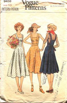 Vintage Sundress Sewing Pattern Fitted Sun Dress Vogue 9458 Size 10 Bust Sleeveless Wrap Dress Square Neckline Shoulder Straps by SuzisCornerBoutique on Etsy Pin Up Vintage, Look Vintage, Vogue Sewing Patterns, Clothing Patterns, Vogue Dress Patterns, Simplicity Sewing Patterns, Sewing Clothes, Diy Clothes, Vintage Outfits