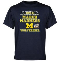 The Wolverines are basketball team is back on top. The road to Atlanta is the only thing on Michigan's mind. Support Big Blue with the Michigan Wolverines 2013 NCAA Men's Basketball Road to March Madness T-Shirt.