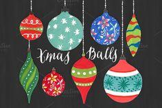 Christmas Clipart - Watercolor Balls by DigitalCloud on Creative Market