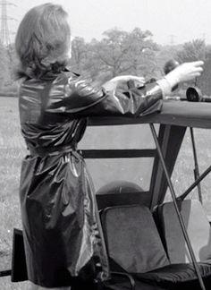 EP23r | rubberklep | Flickr Emma Peel, Vinyl Raincoat, Rubber Raincoats, Vintage Television, Plastic Pants, Pvc Vinyl, Love To Meet, Macs, Raincoats For Women