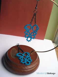 Black Chain and Teal Tatted Lace Motif Chandelier Earrings.