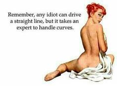 Remember, any idiot can drive a straight line, but it takes an expert to handle curves. You cannot handle curves sooo don't TRY! Great Quotes, Quotes To Live By, Me Quotes, Funny Quotes, Inspirational Quotes, Lady Quotes, Naughty Quotes, Shirt Quotes, Beauty Quotes