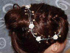 Haardraht Haarranke Haarschmuck Perlen Röschen von Trendfloristik-Festtagsglanz auf DaWanda.com