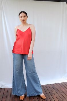 Cicely Silk Camisole Red Silk, Paige Denim, White Tees, Size Model, Bell Bottom Jeans, Camisole, Take That, Firecracker, Slim