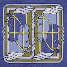 HERMES Foulard en soie- jersey. «Quadrige» Ton bleu-violet Signé P. Péron