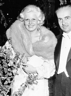 "Jean Harlow and Paul Bern at the premiere of ""Red Headed Woman""."