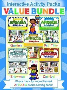These fun Apraxia activities for kids are a must have for any speech room. Themes include farm, bath time, gardening, snowmen & carnival, Use them all year round!