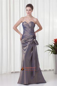 Ruffles Flower Dresses,Dresses With Floral,Trimmed Dresses,Mother Of Bride Dress,Grey Taffeta Sweetheart Dresses