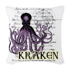 Kraken Woven Throw Pillow on CafePress.com