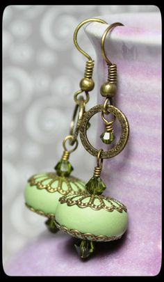 Handmade Jewelry Earrings Beaded Olive Sage Green Polymer Clay Beads Dangle Antique Brass Filigree Crystal Lightweight...Wasabi. $18.00, via Etsy.