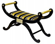 Egyptian Stripe Chaise Simply lovely  This piece of furniture is made with a beautiful black and gold stripe fabric The wood finish is black with gold touches Made 'in house' by our own craftsmen This is a piece of furniture that is made to last  This price is for the item as shown Please telephone if you wish to change the material so we can give you a price Free samples are sent out on request