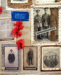 WW1 textile installation at The Norris Museum. Community artist Ricki Outis working with young people from the St Ivo School