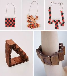 Bernadette Deddens is a London-based accessories designer who views accessories as props that can add small-scale drama to daily life. Her work is playful and often has multiple narratives, requiring interaction by the user. For instance, a necklace that begins by mimicking a checkered linoleum floor but that can be transformed by the wearer into hundreds of configurations, or a bracelet that is both sculpture and bracelet. Check out her shoe accessories after the jump - it's a great…