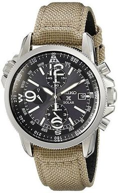 Seiko Men's Quartz Watch with Black Dial Chronograph Display and textile SSC293P1 £221