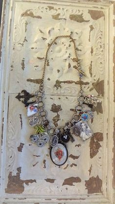 Assemblage Charm Necklace Religious Medal by BerthaLouiseDesigns