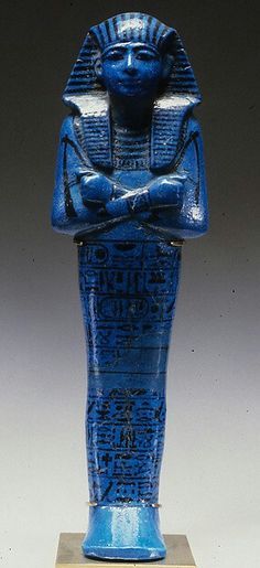 30cm Faience Shabti of Seti I New Kingdom,Ramesside Dynasty,Dynasty 19 Reign:reign of Seti I 1294–1279 B.C. From Tomb of Seti I (KV 17) at the Valley of the Kings.