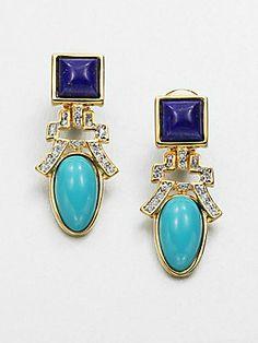 Kenneth Jay Lane Swarovski Crystal Deco Earrings