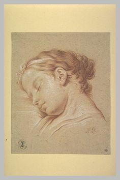 Inventaire du département des Arts graphiques - Tête de jeune fille endormie - DESHAYS Jean-Baptiste Henri