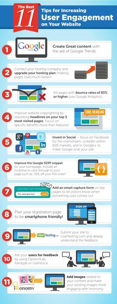 11 tips for increasing user engagement | #infographic repinned by @Piktochart