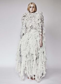 Experimental Textiles Design for Fashion - textured dress with shredded & distressed lace representing organic growth - nature in fashion; fabric manipulation // Chloe Kim