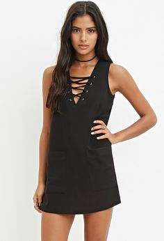 lace-up shift dress with front pockets
