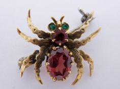 Antique 14K Gold Emerald Ruby Garnet Spider
