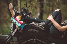 Spotlight on Lady Riders: Leslie Padoll - Harley Davidson Forums Lady Biker, Biker Girl, Blitz Motorcycles, Women On Motorcycles, Vintage Motorcycles, Cars Vintage, Bike Photoshoot, Bike Photography, Portrait Photography