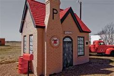 An abandoned but maintained Phillips 66 gas station on Route 66 in McLean, Texas.