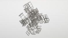 Sirous Namazi: Version Watercut sheet metal, laquer paint. 90 x 80 x 80 cm, 2009.  Lunds konsthall, Lund, Sweden.