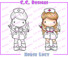C.C. Designs Swiss Pixie Nurse Lucy Rubber Stamp - Click Image to Close