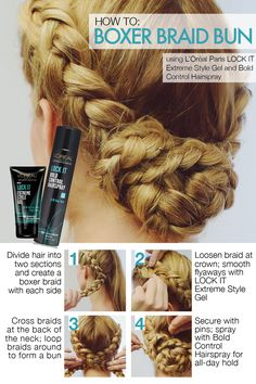 Get the boxer braids of your dreams with Lock It Extreme Style Gel and Lock It Bold Control Hairspray. Divide hair into two sections and create a boxer braid with each side. Loosen braid at crown; smooth flyaways with Lock It Extreme Style Gel. Pretty Hairstyles, Braided Hairstyles, Spring Hairstyles, Funky Hairstyles, Elegant Hairstyles, Athletic Hairstyles, Curly Hair Styles, Natural Hair Styles, Boxer Braids