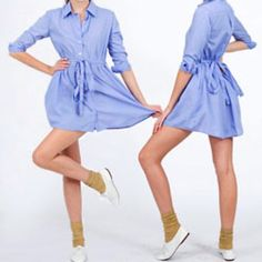 [NWOT] AA Oxford Shirt Dress American Apparel's Oxford Shirt Dress in Oxford Blue. Size XS/S. Sash is removable and can be worn multiple ways. New, never worn; dress didn't come with tags attached when ordered online from American Apparel. Measurements and photos of actual item will be posted shortly. Please ask if you'd like them sooner :) NEGOTIABLE. American Apparel Dresses