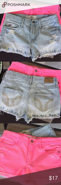 A&F - Hollister (2) Shorts Abercrombie and Fitch in pink - hollister in denim both waist 25. Size 0 and 1 if interested in a single pair comment below! Reg Denim has its own seperate listing if interested. Abercrombie & Fitch Shorts Jean Shorts