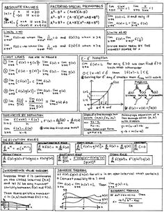 calculus cheat sheet - I made a sheet much like this when re-teaching myself calculus before grad school & the GACE. Algebra, Ap Calculus, Differential Calculus, Math Teacher, Math Classroom, Teaching Math, Math Formulas, E Mc2, Blog Planner