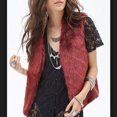 Merlot red faux fur vest- XS/S/M - in my Poshmark closet! My username is: crazyposh. #shopmycloset #poshmark #fashion #shopping #style #forsale #Me Jane #Outerwear