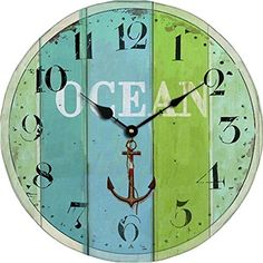 "Grazing 5"" Blue Green Colorful Stripe Design Arabic Numeral Design Rustic Country Tuscan Style Wooden Decorative Round Wall Clock (Ocean2)  #Arabic #blue #Clock #Colorful #Country #Decorative #Design #Grazing #Green #Numeral #Ocean2 #Round #Rustic #RusticWallClock #stripe #Style #Tuscan #Wall #Wooden The Rustic Clock"