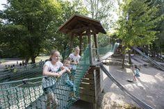 Abenteuerspielplatz im Stadtgarten Outdoor Furniture, Outdoor Decor, Home Decor, Playground, Water Pond, Tourism, Adventure, City, Lawn And Garden