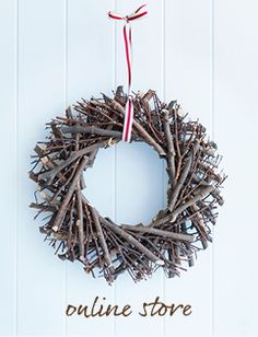 Christmas wreath made out of twigs and small branches.
