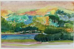 View from Miramar, Wellington. Watercolour sketch