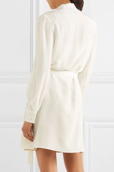 Prada - Pussy-bow Ruffled Silk Crepe De Chine Mini Dress - Ivory - IT42