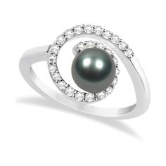 Allurez Akoya Cultured Black Pearl Ring with Diamonds 14K White Gold... ($905) ❤ liked on Polyvore featuring jewelry, rings, white gold diamond rings, 14k white gold ring, white gold jewellery, 14 karat gold ring and pearl ring