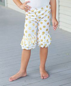 Love this White & Gold Polka Dot Ruffle Pants - Infant, Toddler & Girls on #zulily! #zulilyfinds