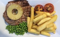 Gammon steak and chips a hot favourite at the Green Shutters Gammon Steak, Steak And Chips, Green Shutters, Real Food Recipes, Sausage, Hot, Sausages, Hot Dog, Chinese Sausage