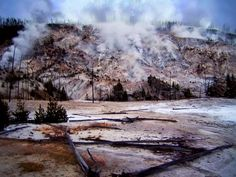 """Yellowstone as I have never seen before, the mountainside with burnt trees and what's left of them, smoke and steam hiss from hundreds of fissures, the ground I am stood on rumbles and cracks, trees fall, the ground gurgles and then suddenly erupts as a water spout shoots upwards, a little """"Old Faithfull"""", as the ground rumbles even more under my feet, common sense says move, and quick, so I did.!"""