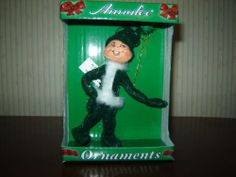 Annalee Christmas Green Glitter Elf Ornament