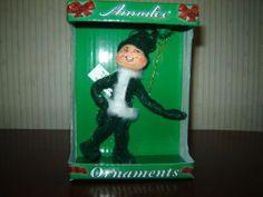 Annalee Christmas Green Glitter Elf Ornament