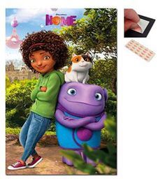 Bundle – 2 Items – Home Dreamworks Movie Group Poster – 91.5 x 61cms (36 x 24 Inches) and a Set of 4 Repositionable Adhesive Pads For Easy Wall Fixing