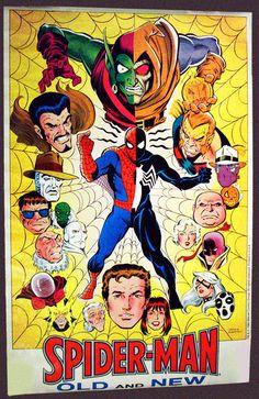 Original 1984 Amazing Spider-man in black Venom costume poster: Spiderman,Green Goblin,Hobgoblin,Mysterio Marvel Comics pin-up 1 Marvel Comics, Dc Comics Poster, Comic Poster, Marvel Universe, Comic Book Grading, Mysterio Marvel, Kraven The Hunter, Superhero Poster, Superhero Cartoon